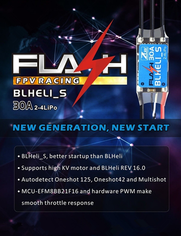 ZTW Flash Series 30A BLHeli_S OPTO ESC 2-4S Support Oneshot 125 Oneshot42 and Multishot