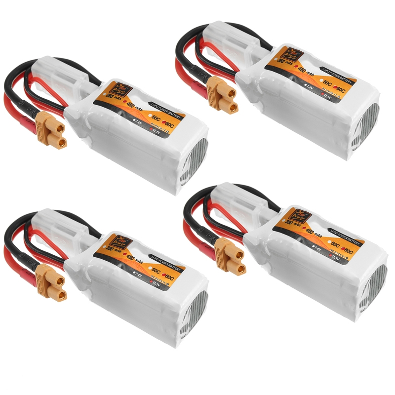 4Pcs ZOP Power 11.1V 450mAh 35C 3S Lipo Battery XT30 Plug