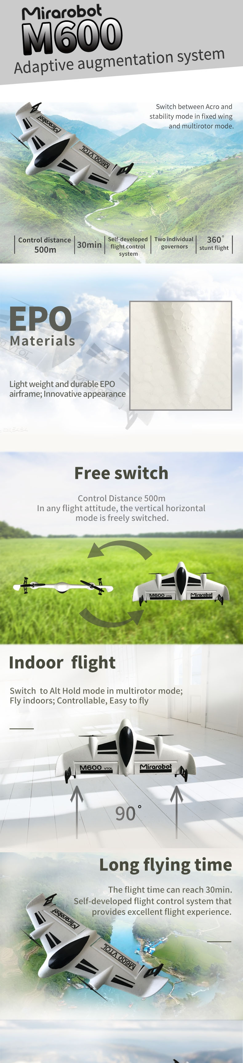 Mirarobot M600 600mm Wingspan VTOL EPO FPV Racer RC Airplane PNP With Flysky/Frsky Receiver