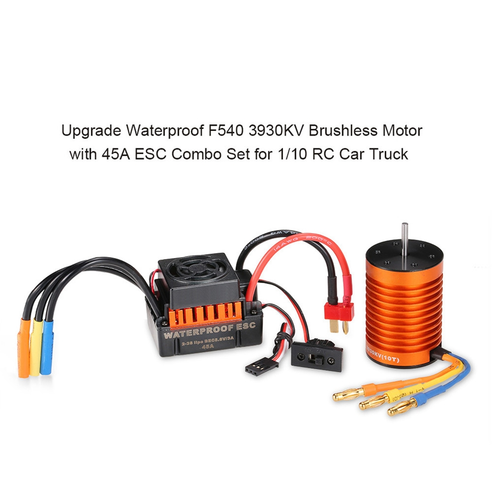 Surpass Hobby Waterproof F540 3930KV Brushless Motor +45A ESC For 1/10 Rc Car Parts