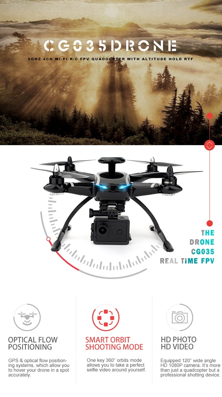 AOSENMA CG035 Brushless Double GPS WIFI FPV With 1080P HD Camera Follow Me RC Drone Quadcopter RTF