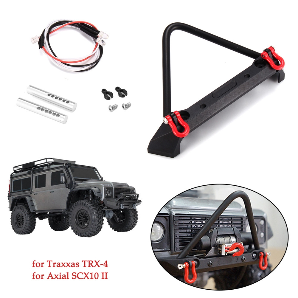 Alloy Front Mounted Bumper w/ LED Light for Traxxas TRX-4 Axial SCX10 II 1/10 RC Crawler Car Parts