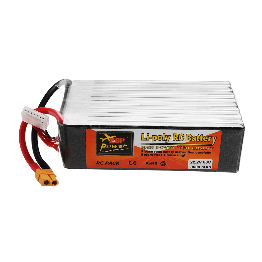 ZOP POWER 22.2V 8000mAh 60C 6S Lipo Battery With XT60 Plug For RC Model