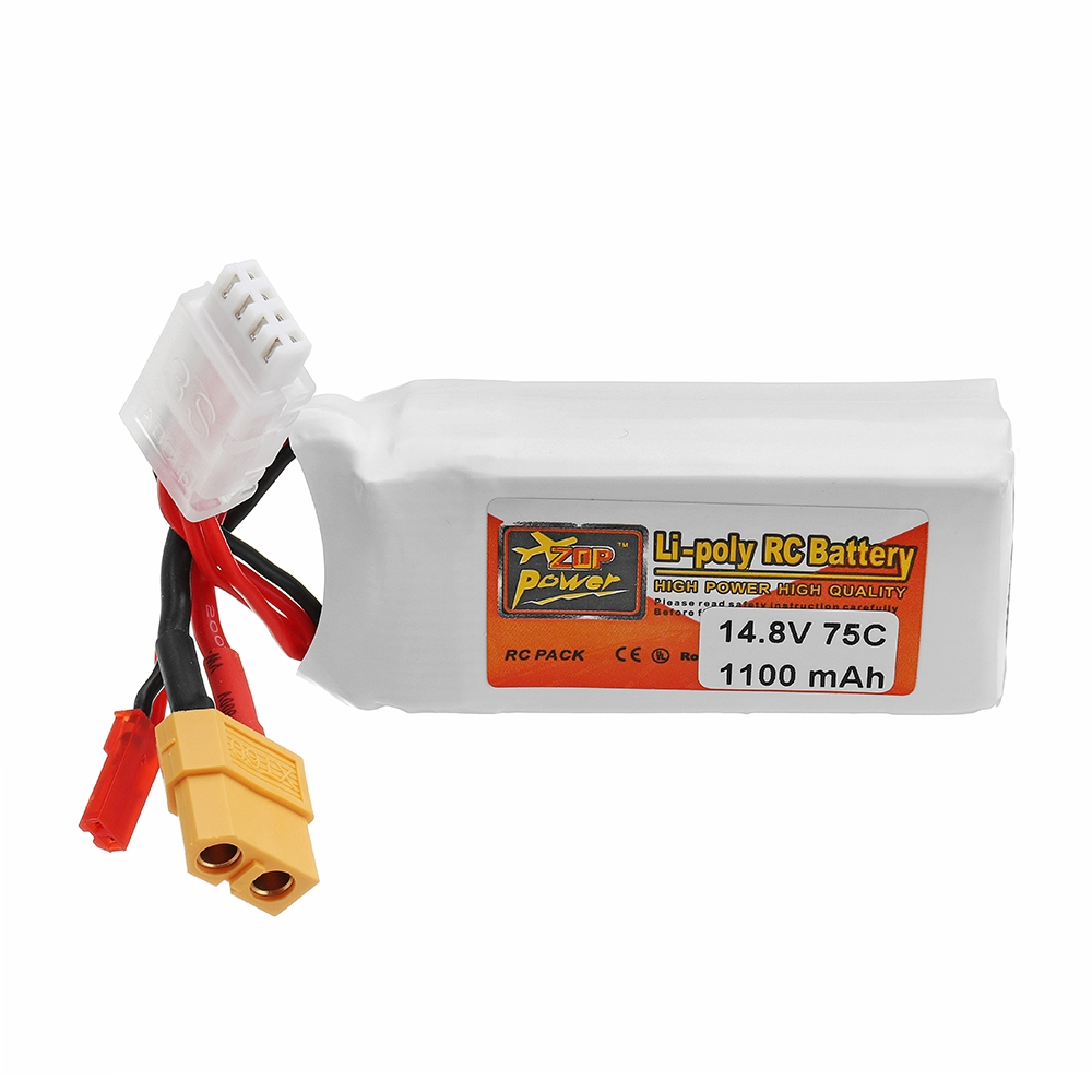 ZOP POWER 14.8V 1100mAh 75C 4S Lipo Battery With JST Plug XT60 Plug For RC Models