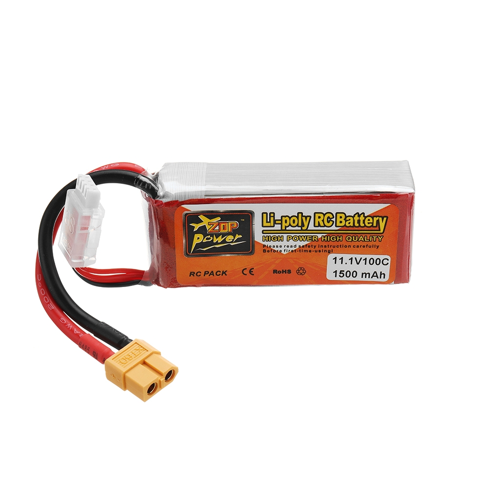 ZOP POWER 11.1V 1500mAH 100C 3S Lipo Battery With XT60 Plug