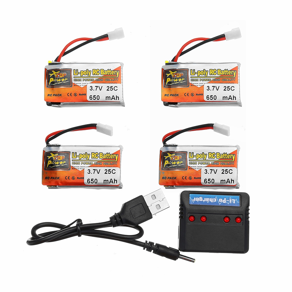 4Pcs ZOP POWER 3.7V 650mAh 25C 1S Lipo Battery JST Plug With Charger For RC Models