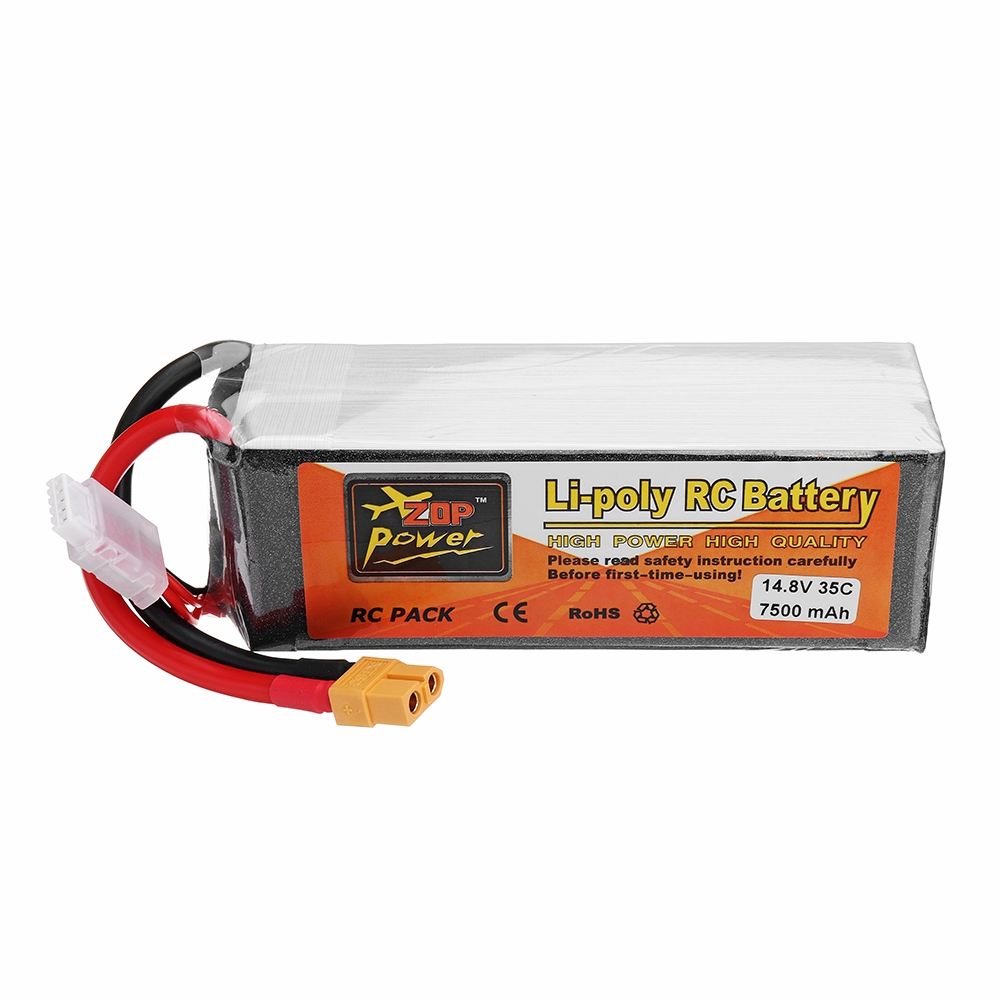 ZOP Power 14.8V 7500mah 35C 4S Lipo Battery XT60 Plug for RC Quadcopter Car