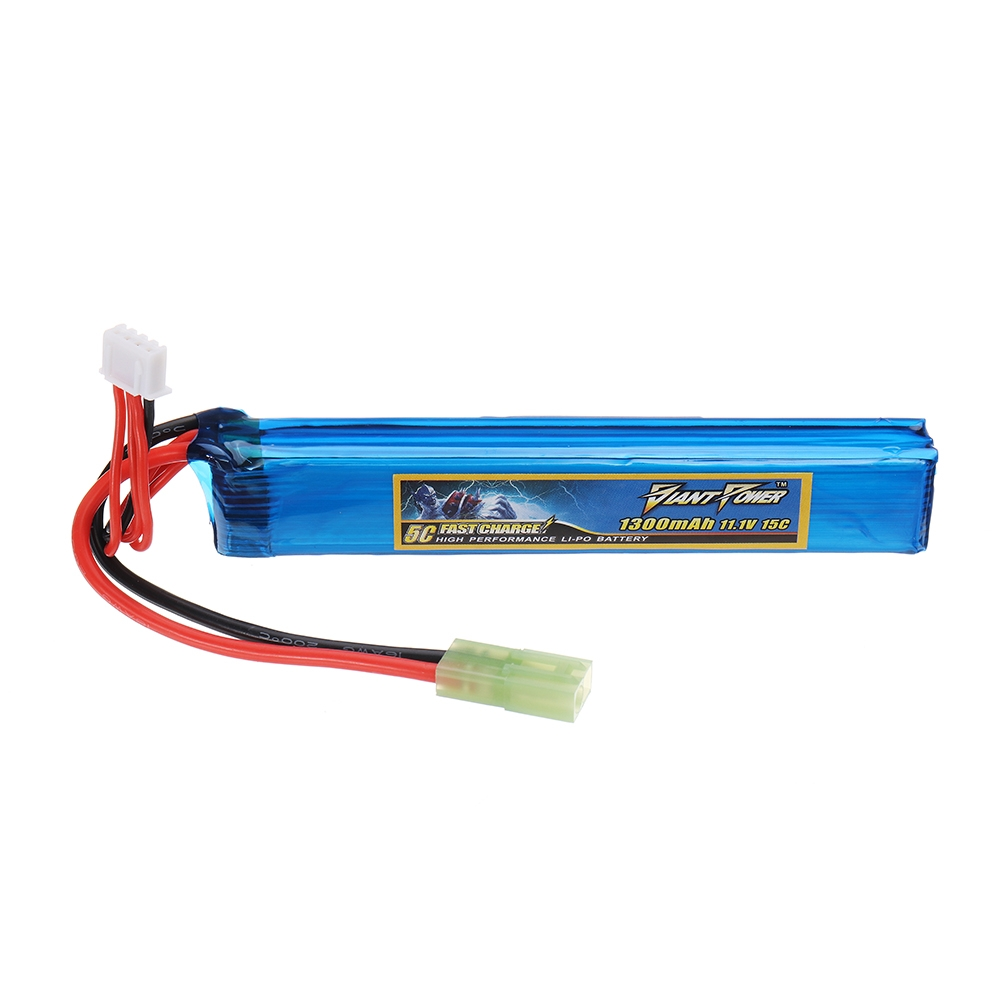 Giant Power 11.1V 1300mAh 3S 15C LiPo Battery Small Tamiya Plug