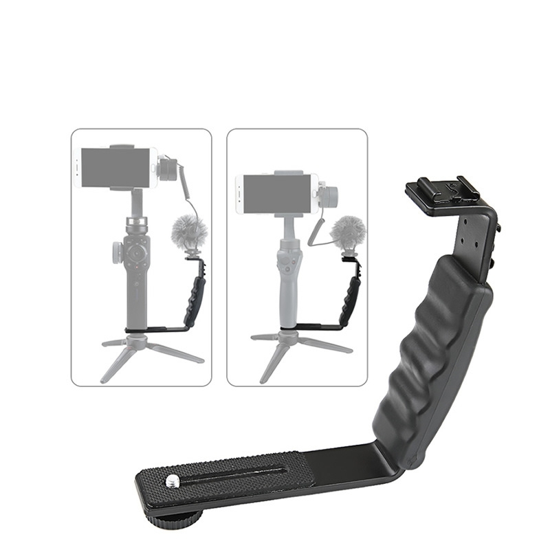 Universal L-Type Handheld Gimbal Holder LED Microphone Mount For DJI Osmo Mobile 2 Smooth 4