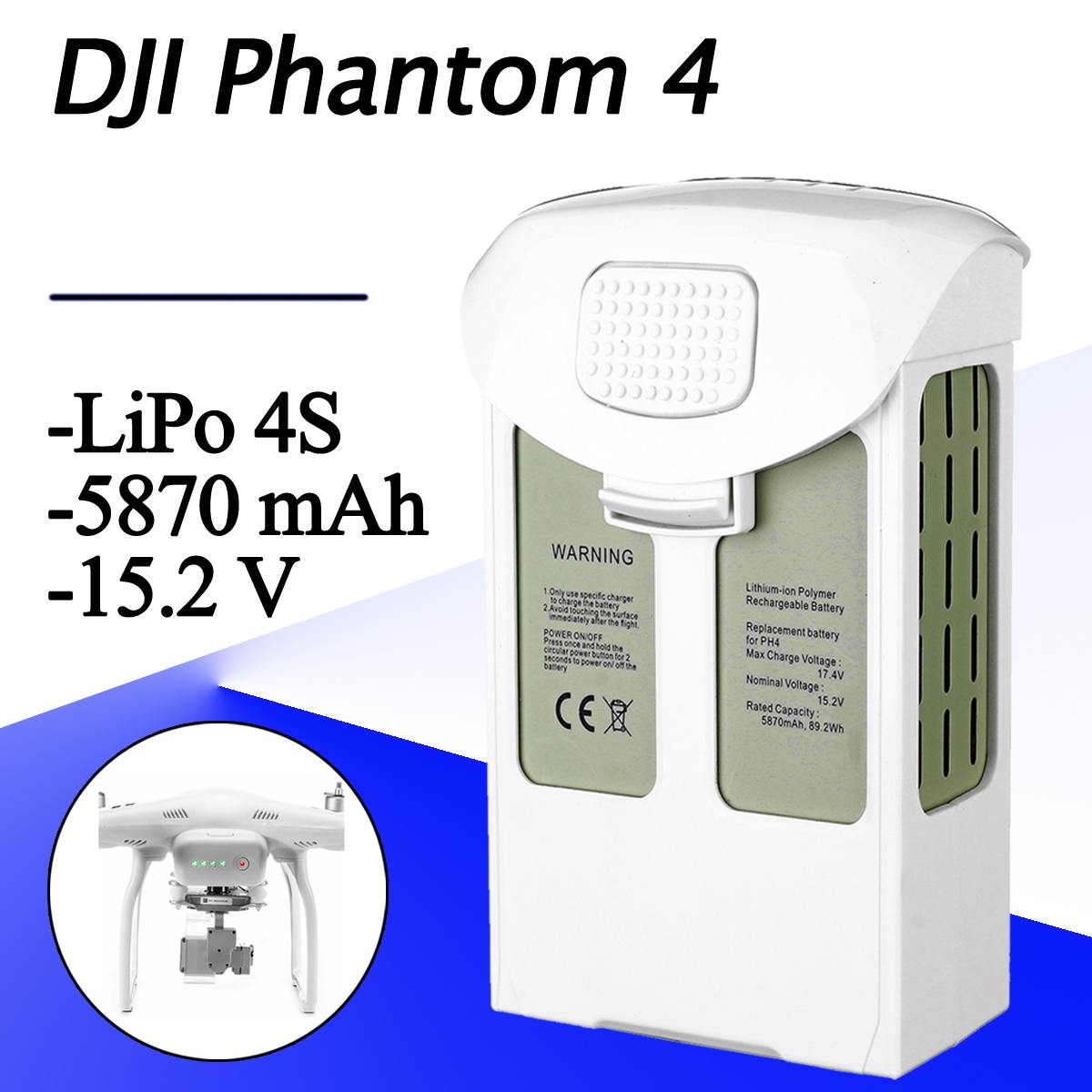 15.2V 5870mAh Intelligent Spare Flight LiPo Battery For DJI Phantom 4/Advanced/4Pro FPV Quadcopter RC Drone