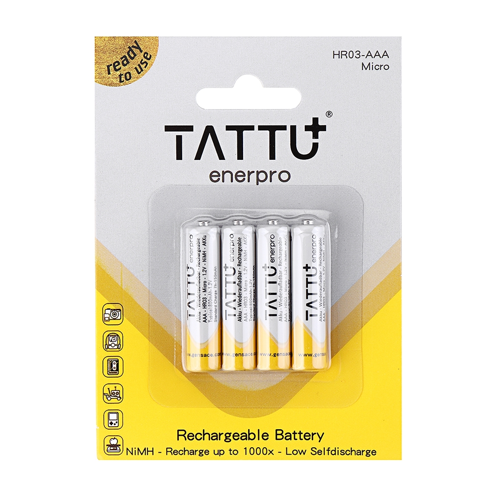 4Pcs ACE TATTU 1.2V 800mAh NiMH AAA Battery for RC Toys
