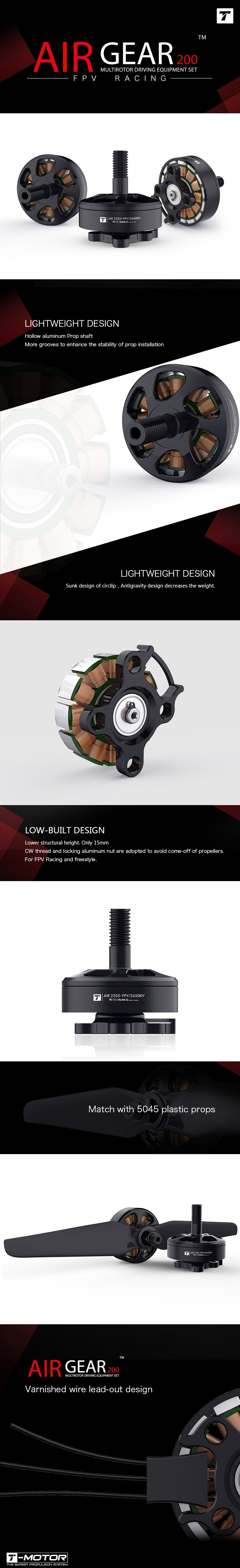 T-Motor AIR Gear 200 FPV Power Combo AIR 2205 2450KV / 2650KV Brushless Motor & 5045 Propeller