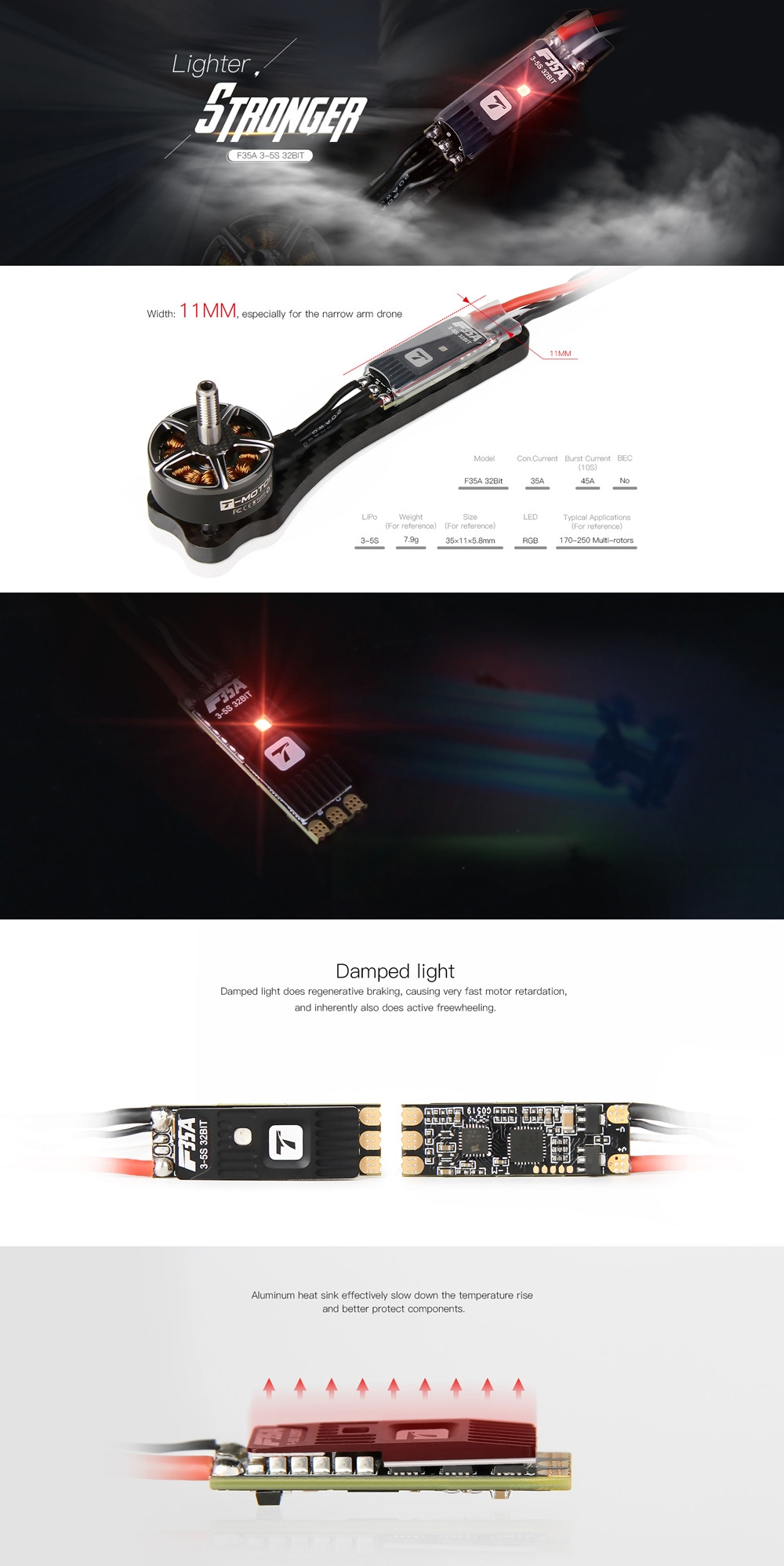 Summer Prime Sale T-motor F35A 35x11mm 35A BL_32 3-5S Brushless ESC w/ RGB LED for RC Drone