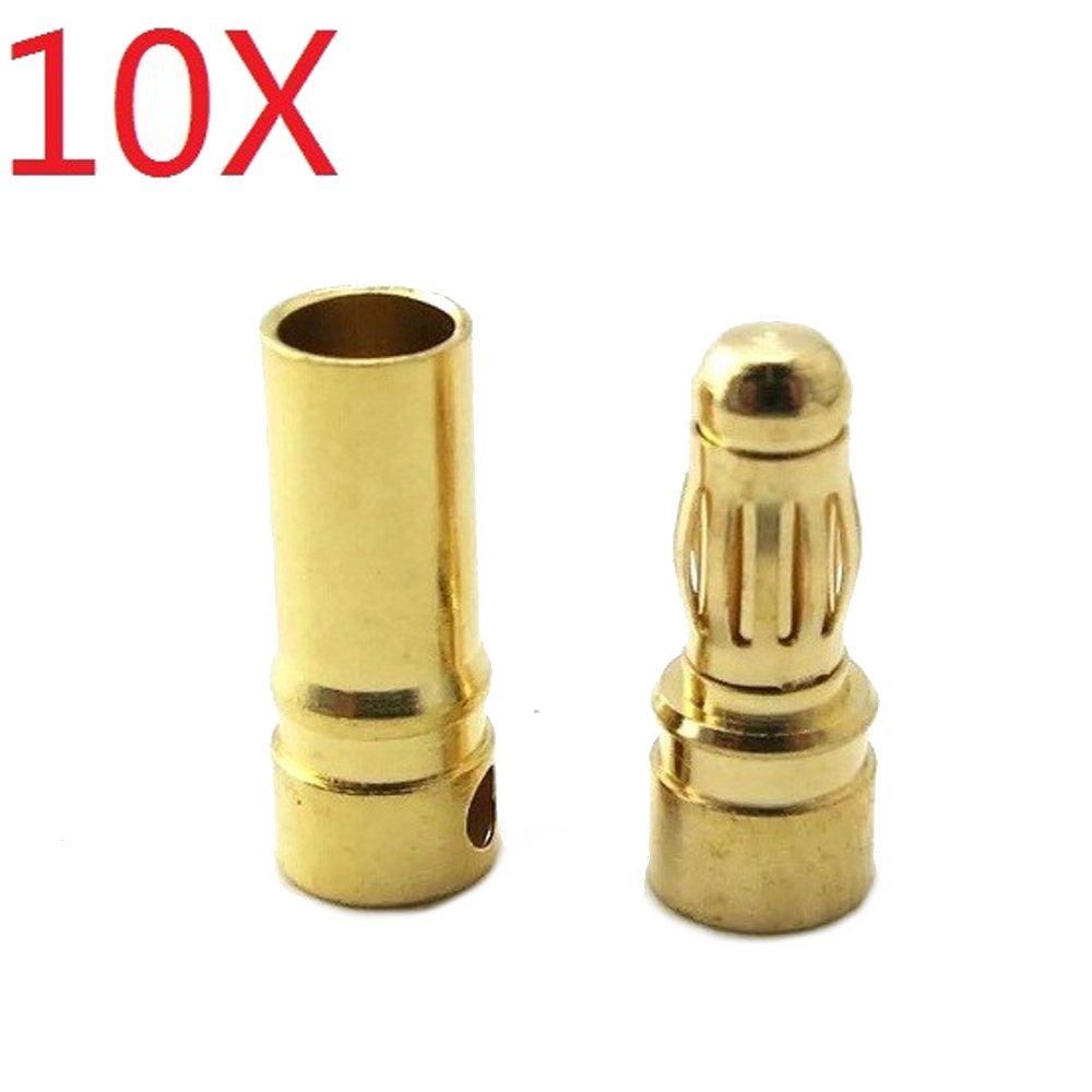 10 Pair 5.5mm Gold Bullet Connector Banana Plug For ESC Battery Motor