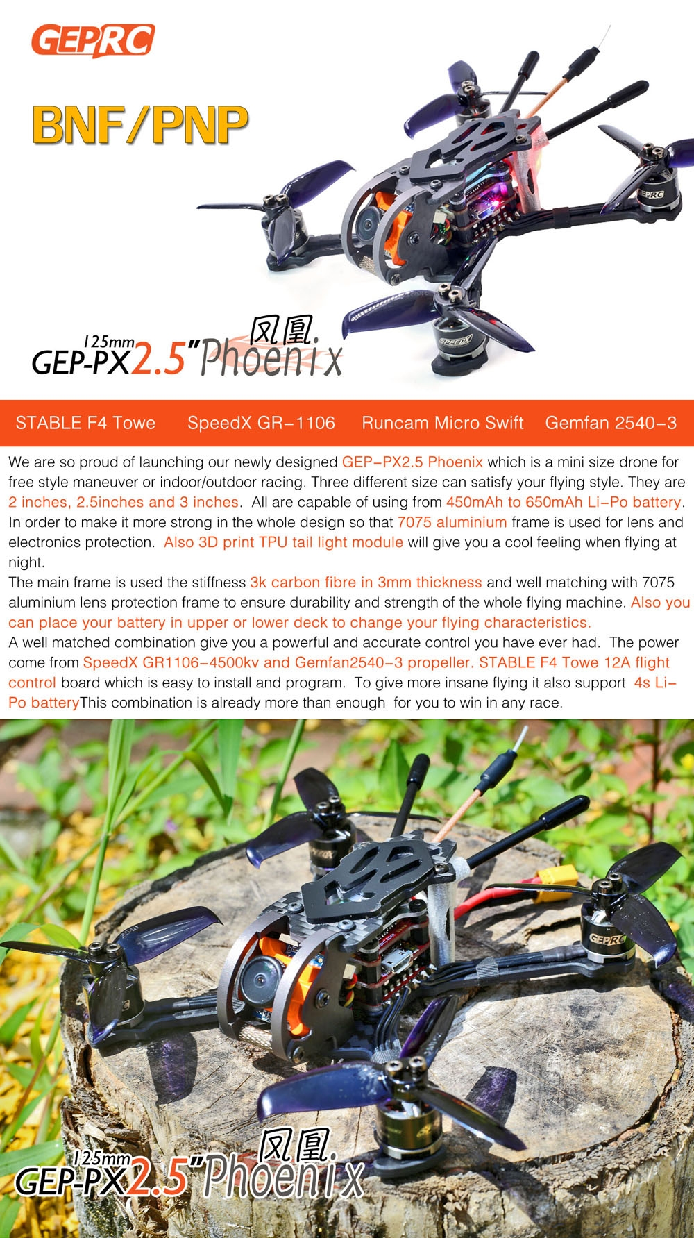 Summer Prime Sale GEPRC GEP-Phoenix 125mm FPV Racing Drone BNF Omnibus F4 RunCam Micro Swift 600TVL Camera