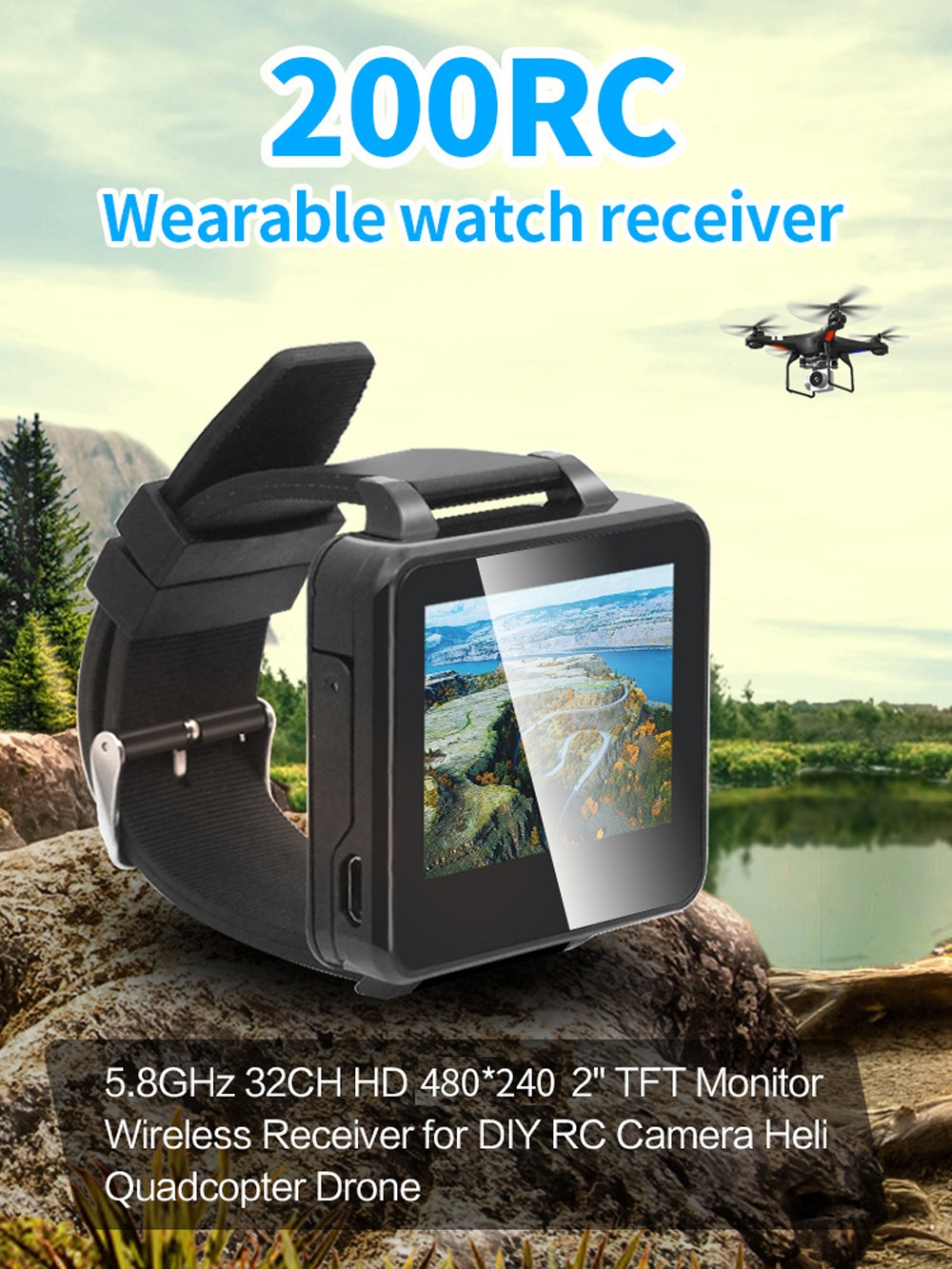 "200RC FPV Wearable Watch 2"" LCD 5.8G 40Ch FPV Monitor Wireless Receiver Watch LCD Display for FPV RC Drone"