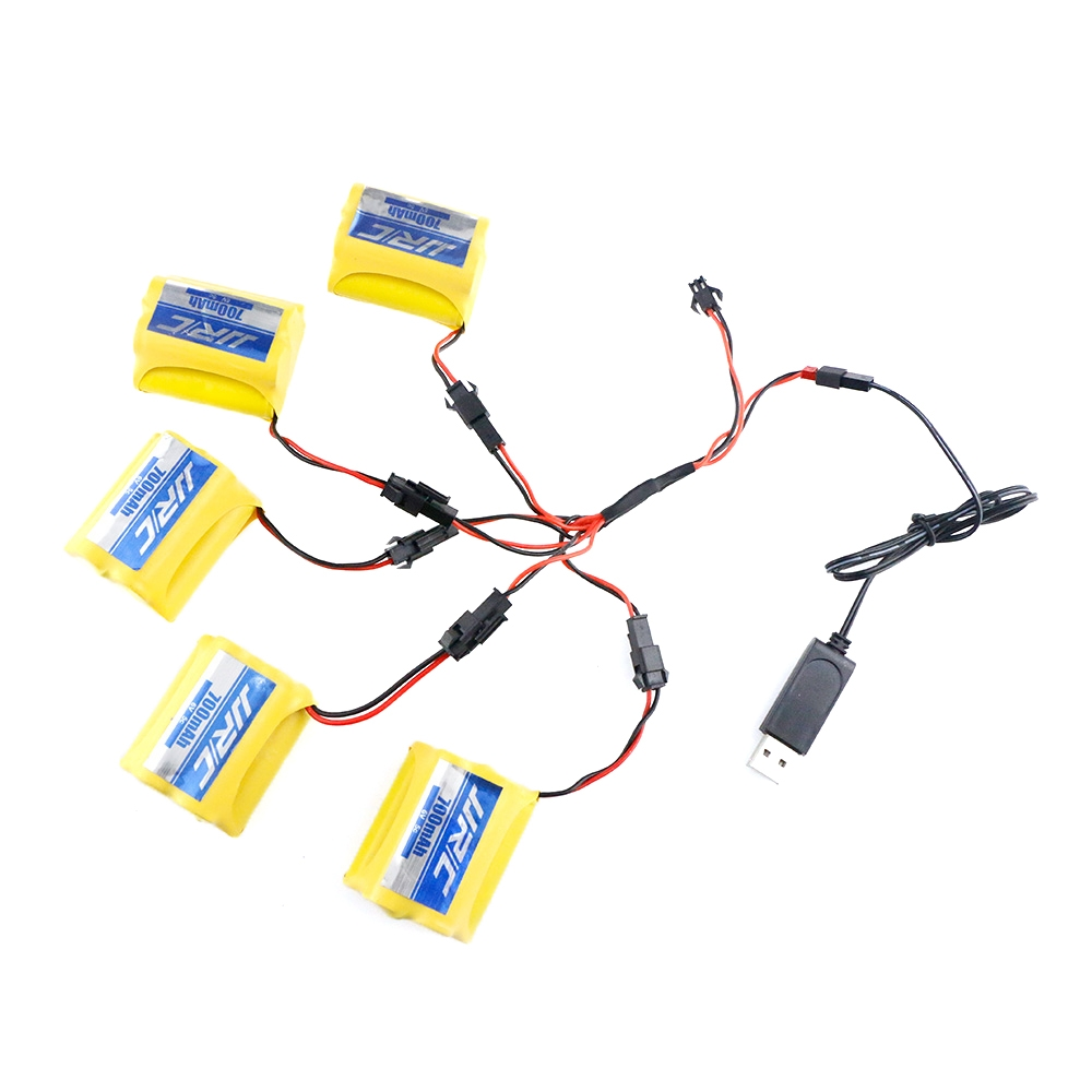 5Pcs JJRC Q60 Ni-Cd 6V 700MAH 5C Battery+USB Line-04+DYX-0009 For JJRC Q60 RC Car Parts