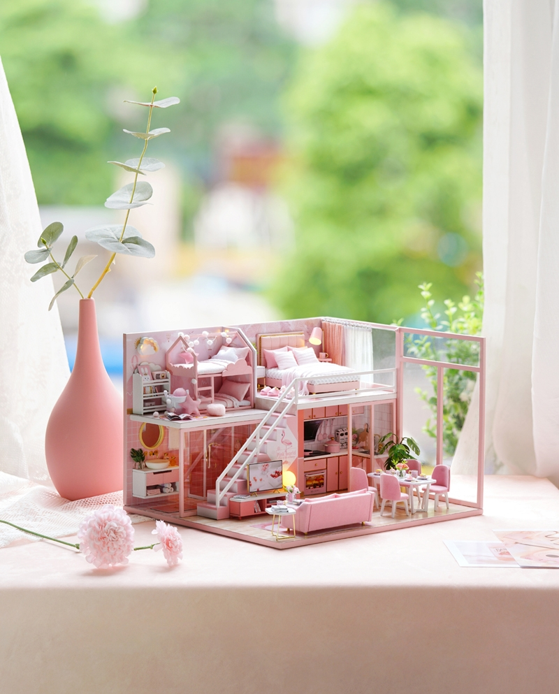 Cuteroom L027B DIY Cabin Meet the Little Beauty Handmade Loft Simple Apartment Doll House with Dust Cover Music Motor
