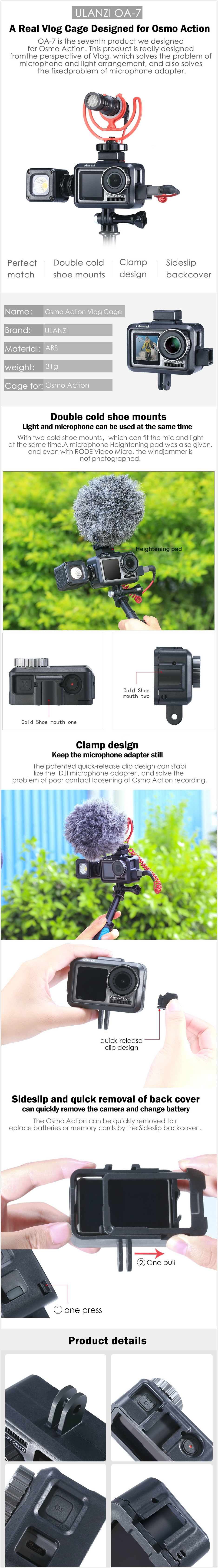 Ulanzi OA-7 OSMO Action Vlog Cage Protective Video Case Frame Mount Housing Shell Cover for DJI OSMO Action Camera