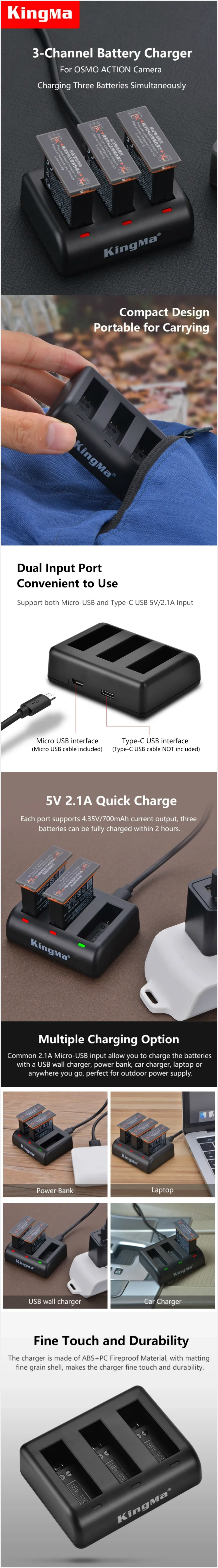 KingMa BM055 3-Channel 5V/2.1A Micro USB / Type-C Triple Charger For DJI OSMO ACTION Camera
