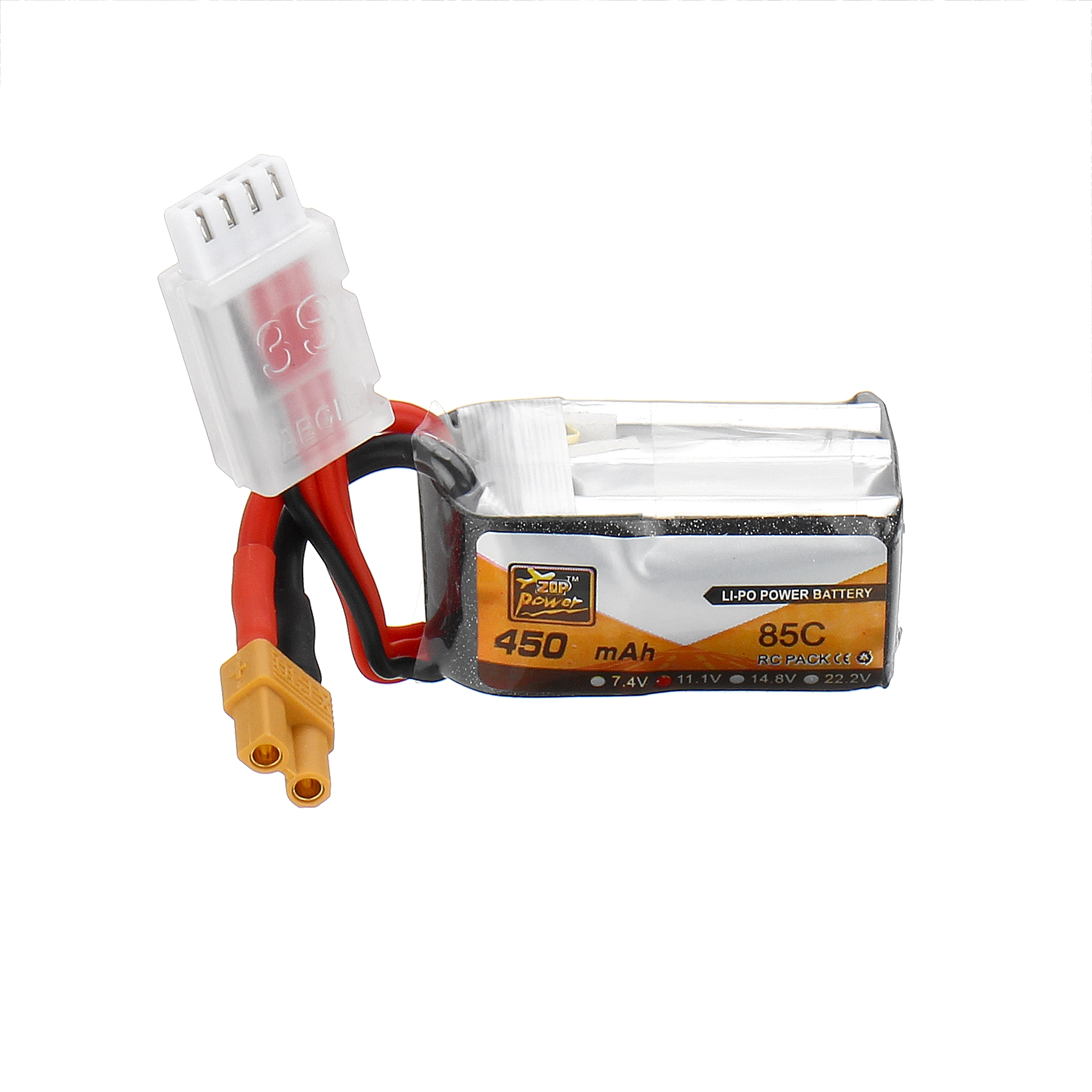 ZOP Power 11.1V 450mAh 85C 3S Lipo Battery XT30 Plug for Eachine Lizard95 FPV Racer