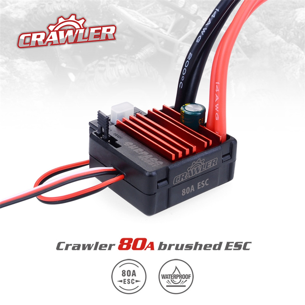 Surpass Hobby 80A Brushed Waterproof ESC Speed Controller for 1/10 RC Crawler Vehicles Parts