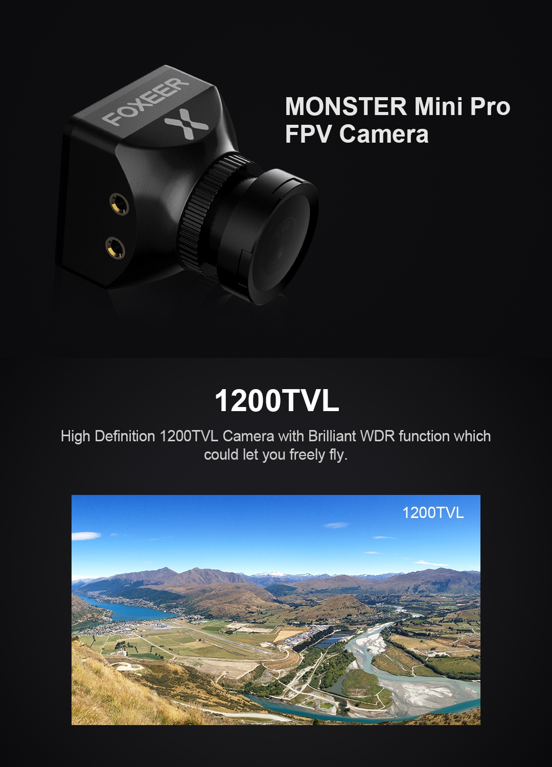 "Foxeer Monster Mini Pro 1/2.9"" CMOS 1.8/2.5mm 1200TVL 16:9 PAL/NTSC Switchable WDR FPV Camera"
