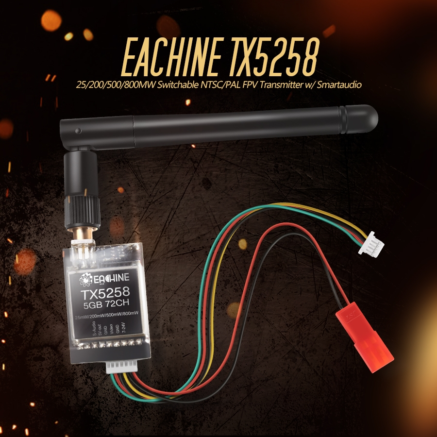 Eachine TX5258 5.8G 72CH 25/200/500/800mW Switchable FPV Transmitter Support OSD Configuring Smartaudio