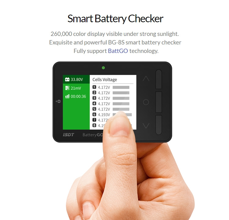 ISDT BattGo BG-8S Smart Battery Checker Balancer Receiver Signal Tester Quick Charge Function