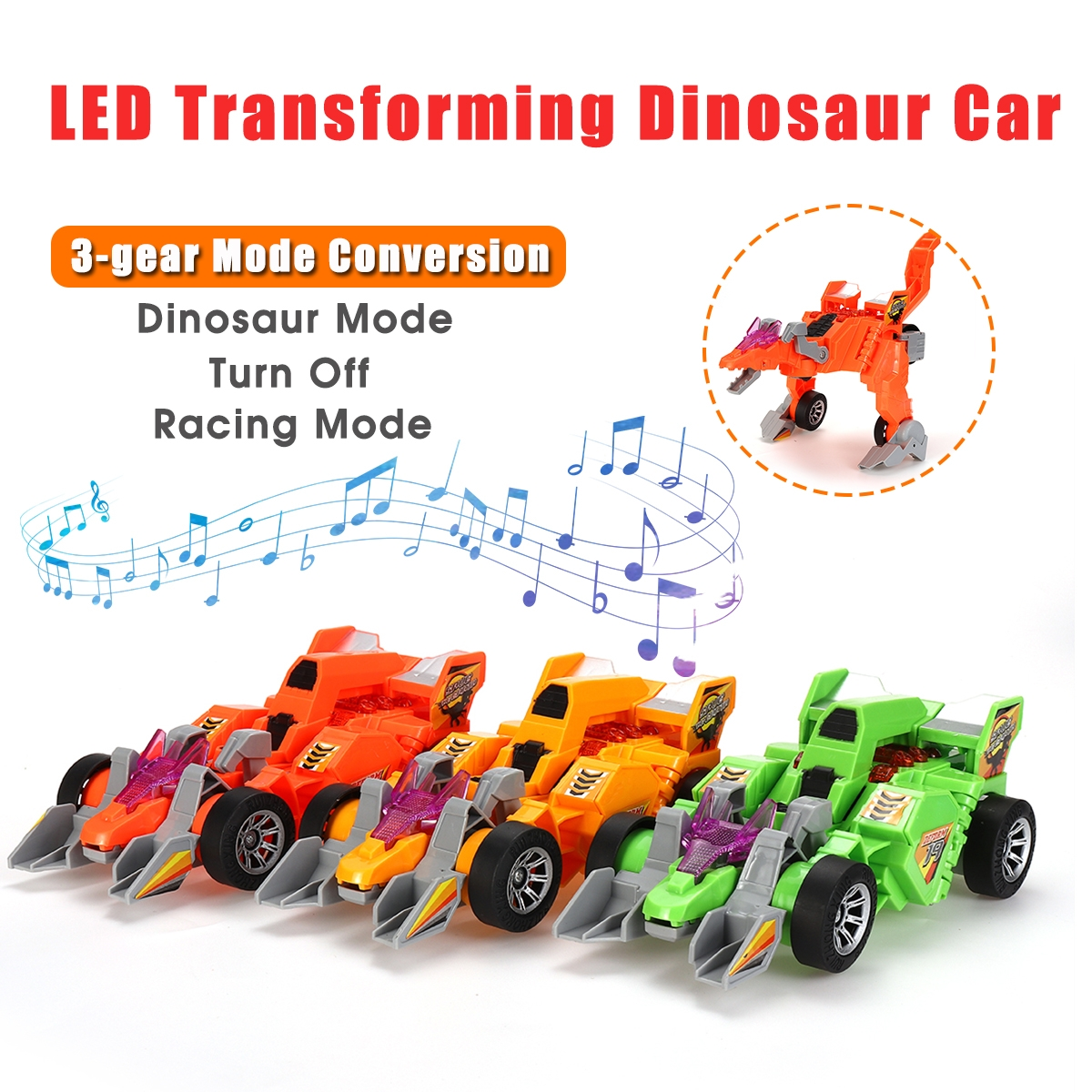 Electric Transforming T-Rex Dinosaur LED Car with Light Sound Diecast Model Toy