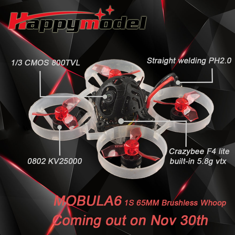 Only 20g Happymodel Mobula6 65mm Crazybee F4 Lite 1S Whoop FPV Racing Drone BNF w/ Runcam Nano 3 Cam