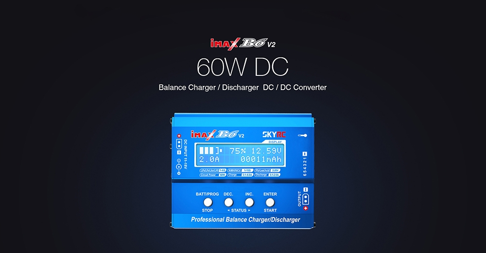 SKYRC iMAX B6 V2 60W 6A DC 2.5mm/XT60 Dual Input Battery Balance Charger Discharger with XT60 Output for Lipo/Li-ion/LiHV/LiFe/NiMh Battery