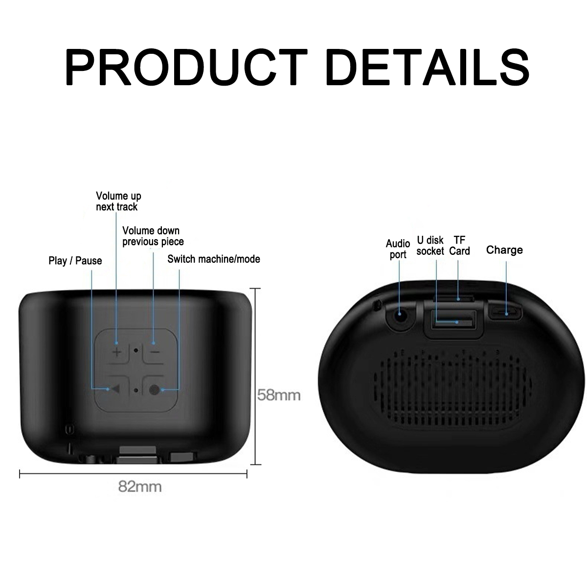 1200mAh HIFI Sound Quality Built-in Microphone TF Card Slot Bluetooth 5.0 Stereo Portable Wireless Speaker