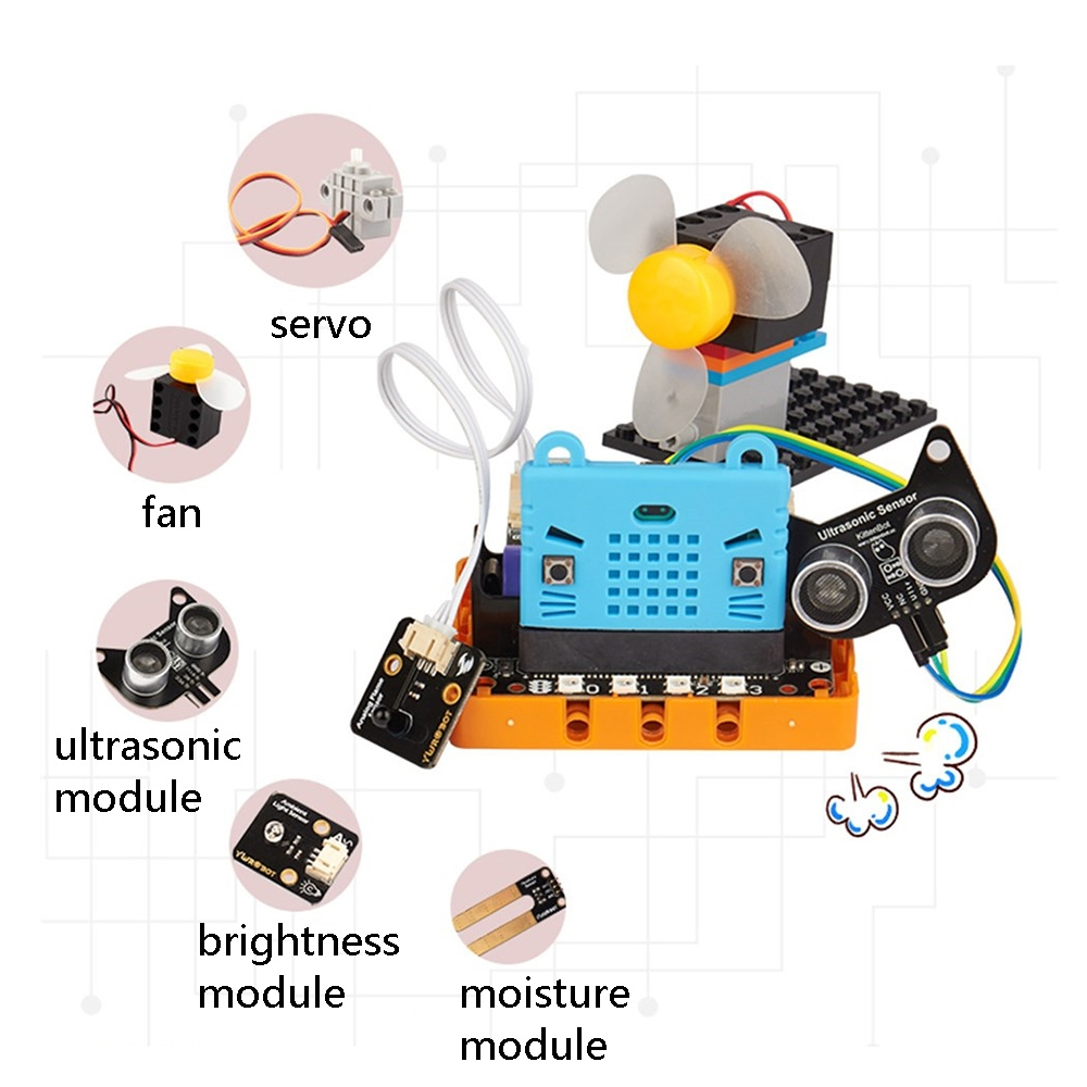 Kittenbot Micro:bit Kittenblock Makecode Graphic Program DIY Educational Robot Kit Compatible With LEGO