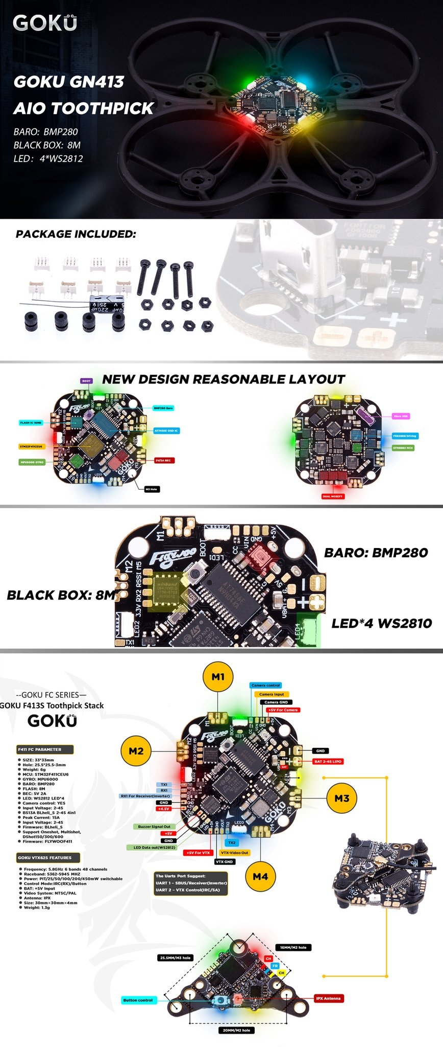 FLYWOO GOKU GN413S F411 F4 Flight Controller AIO OSD BEC & 13A BL_S 2-4S 4In1 ESC 25.5*25.5mm for Toothpick RC Drone FPV Racing