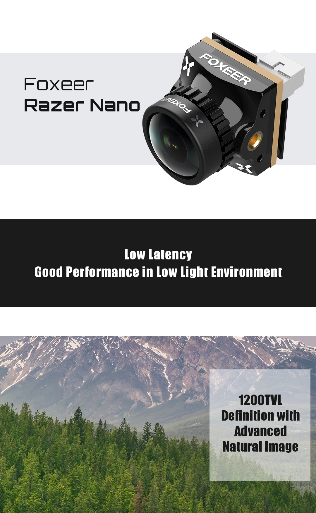 Foxeer Razer Nano 1200TVL 1/3 CMOS Low Latency FPV Camera 4:3/16:9 PAL/NTSC Optional For RC Racer Drone