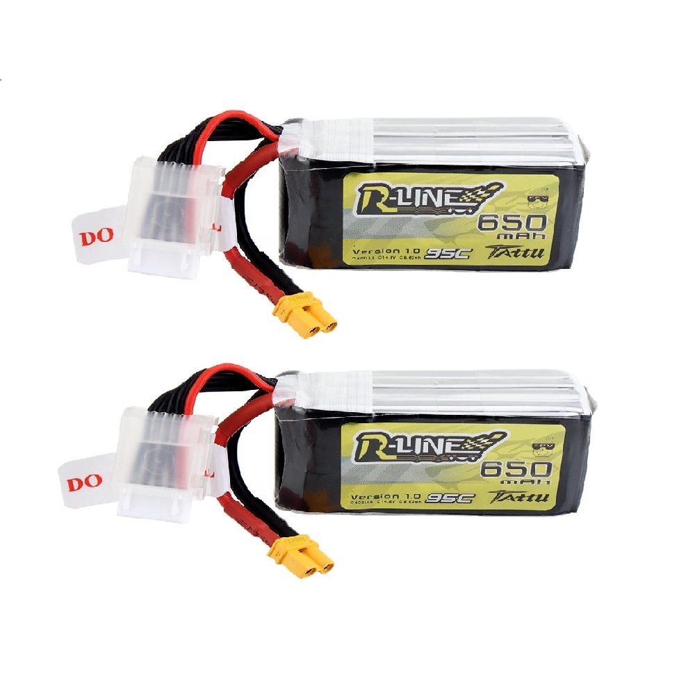 2Pcs Tattu R-Line V1.0 14.8V 650mAh 95C 4S Lipo Battery XT30 Plug for RC FPV Quadcopter