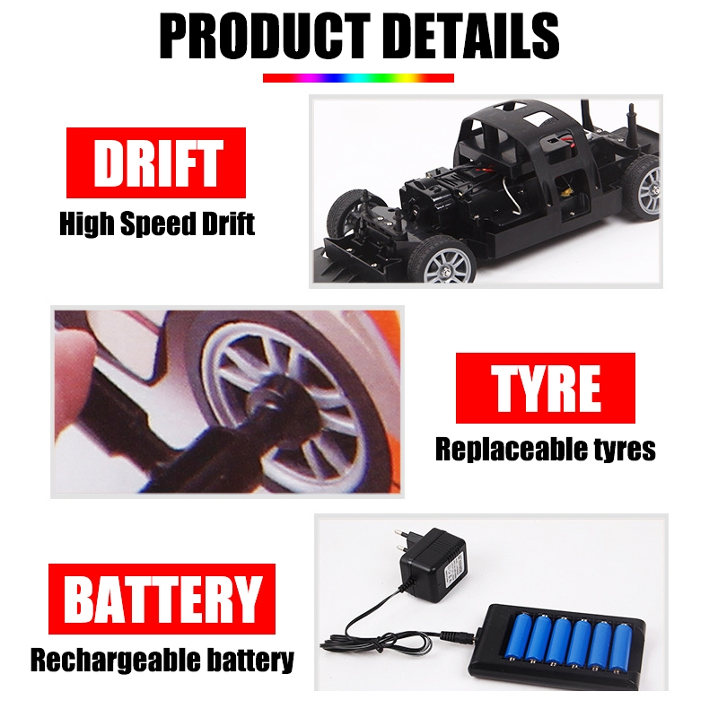 1/16 2.4G 4WD Drift Stunt Racing Drift High Speed RC Car Children Outdoor Game Toys