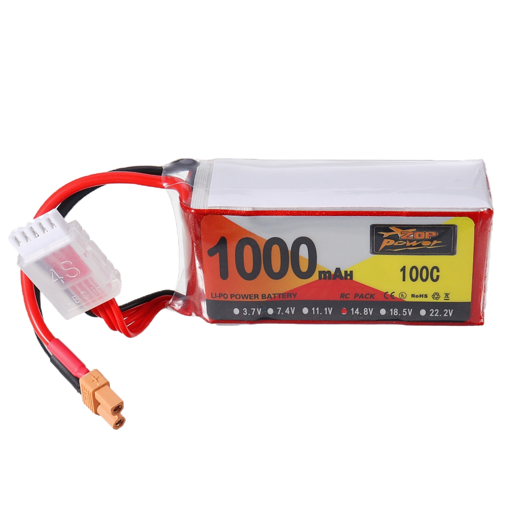 ZOP Power 14.8V 1000mAh 100C 4S Lipo Battery XT30 Plug for Shendrones Squirt V2