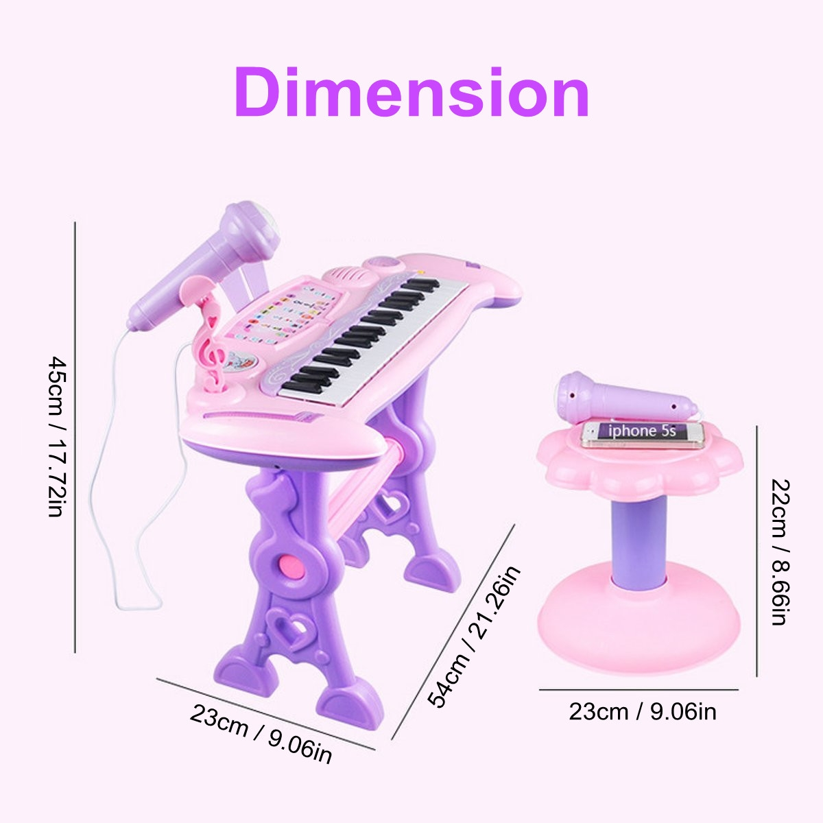 37 Key Electronic Keyboard Kids Mini Grand + Piano Stool Microphone Musical Toys