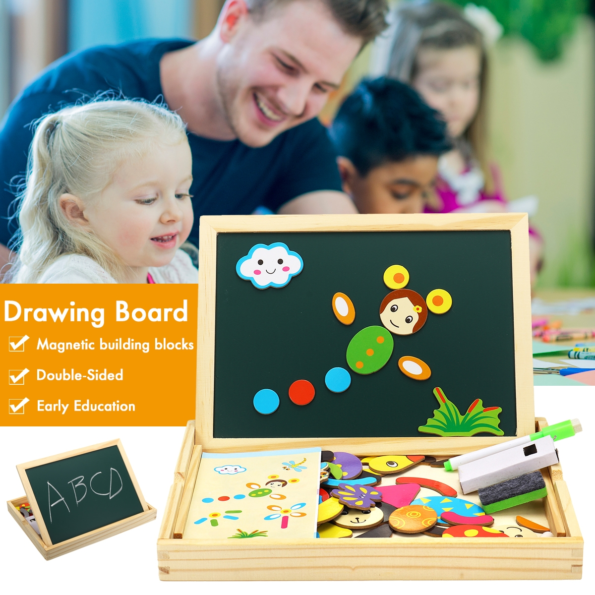 Wooden Magnetic Double-Sided Drawing Board Blocks Children Early Education Toys