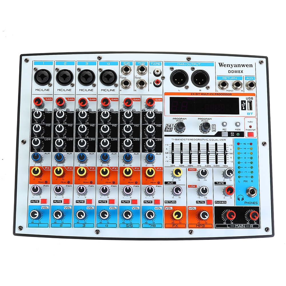 WENYANWEN DDM8X 4 Channel 7 Bands Main EQ 16 DSP Effects Audio Mixer Bluetooth Live Studio Audio Mixing Console