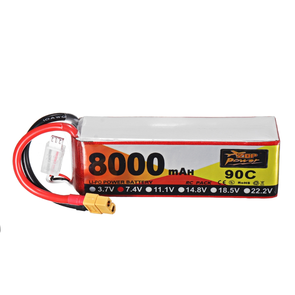 ZOP Power 7.4V 8000mAh 90C 2S Lipo Battery XT60 Plug for RC Racing Drone