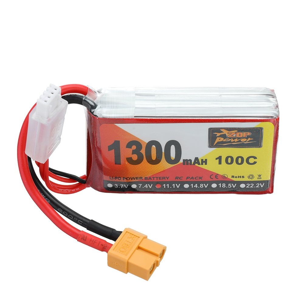 ZOP Power 11.1V 1300mAh 100C 3S Lipo Battery XT60 Plug for RC Racing Drone
