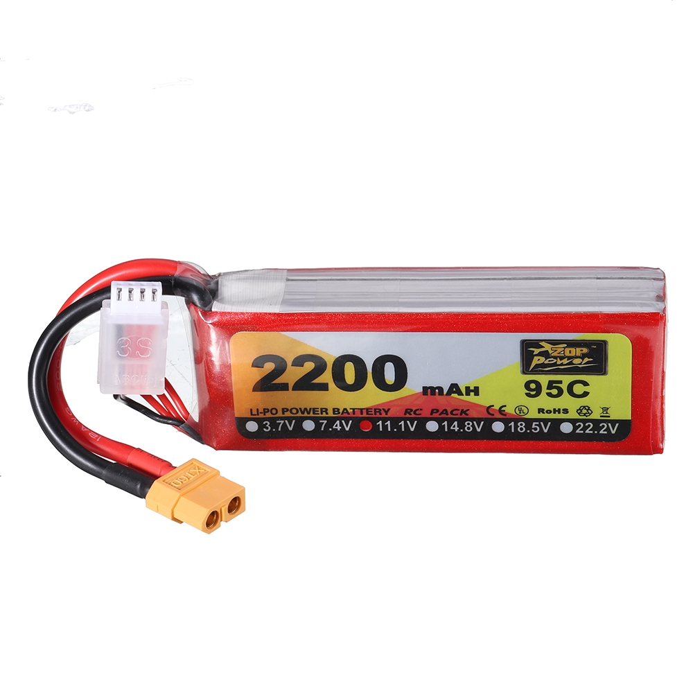 ZOP Power 11.1V 2200mAh 95C 3S Lipo Battery XT60 Plug for RC Racing Drone
