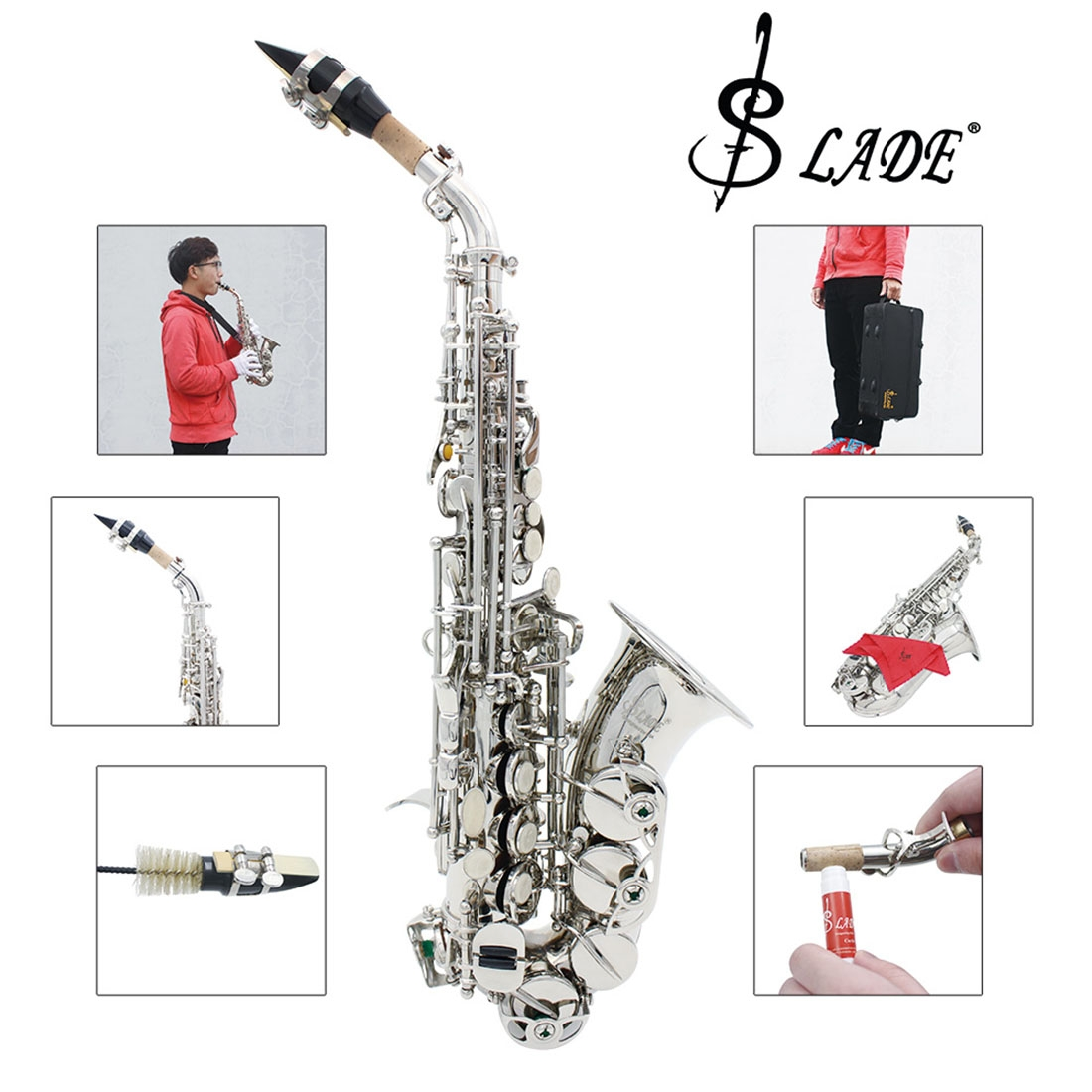 Slade Saxophone Alto Instrument E Fall Saxophone for Beginner with Cleaning Accessories