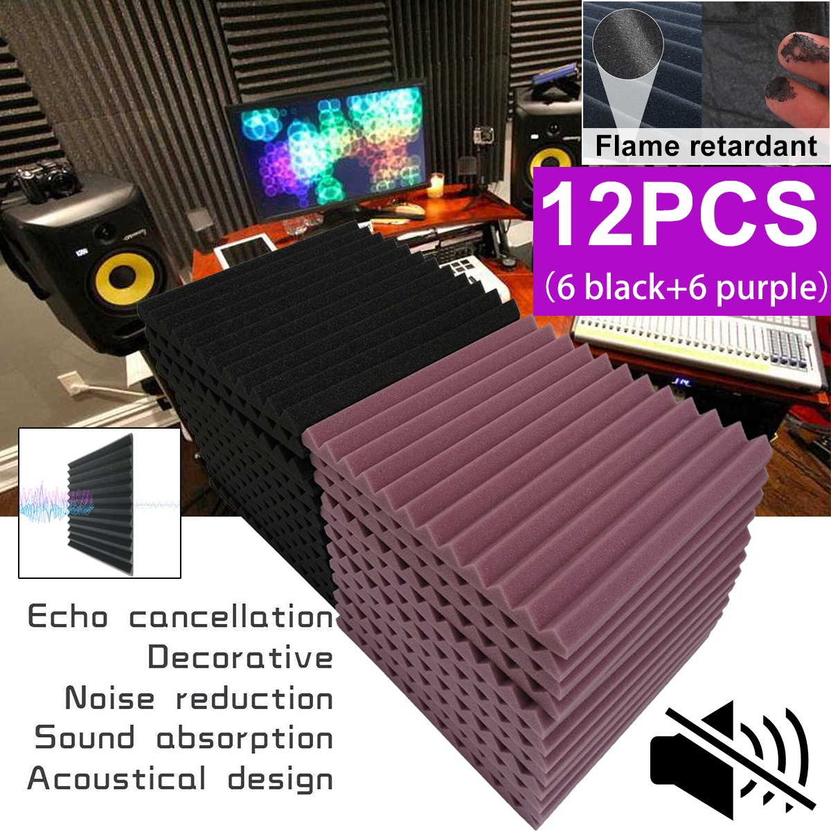 "12PCS 1.2X12X12"" Acoustic Soundproof Foam Wedge Studio Soundproofing Wall Panels Tiles"
