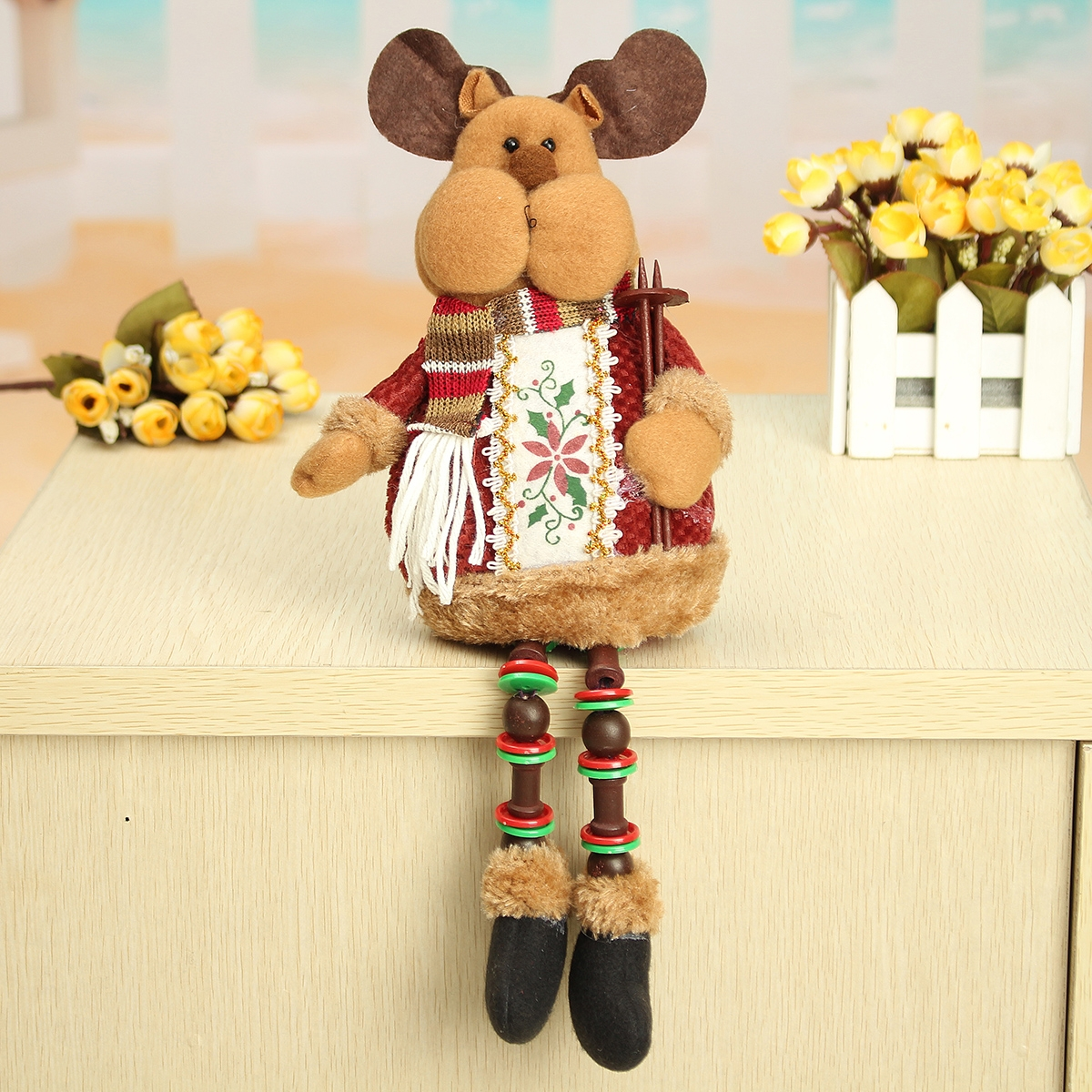 Christmas Home Decorations Sitting Cute Deer Ornament Flannel Toy Gift