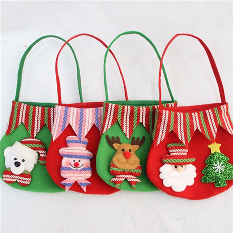 Christmas Candy Bag Santa Claus Snowmen Elk Gift Bag Fruit Candy Storage Bag Decor