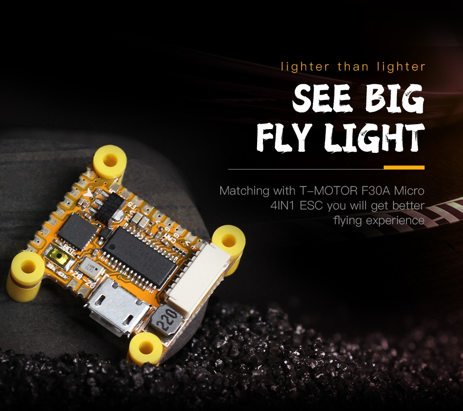 20*20mm T-Motor Micro F30A ESC+ Light F411 Flight Controller OSD FPV Combo Stack for FPV Racing RC Drone